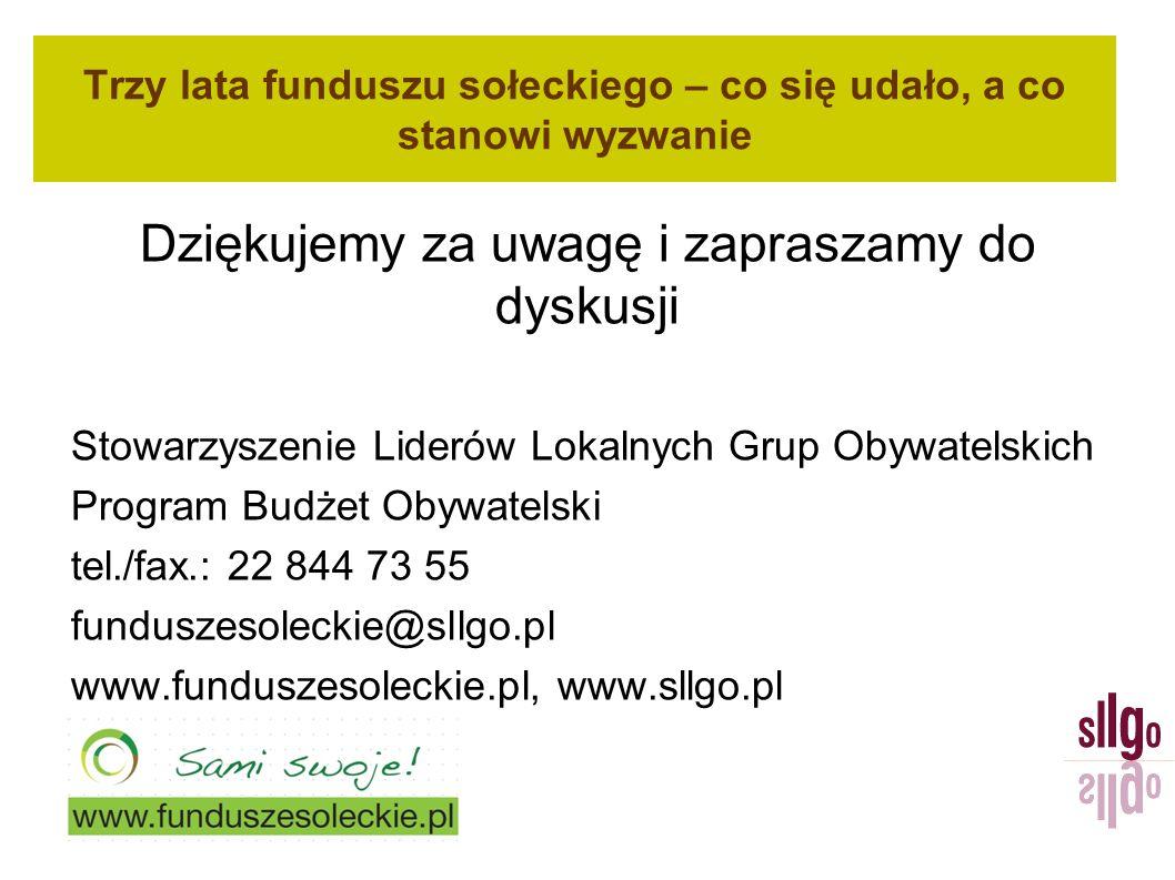 Trzy lata funduszu sołeckiego – co się udało, a co stanowi wyzwanie Dziękujemy za uwagę i zapraszamy do dyskusji Stowarzyszenie Liderów Lokalnych Grup