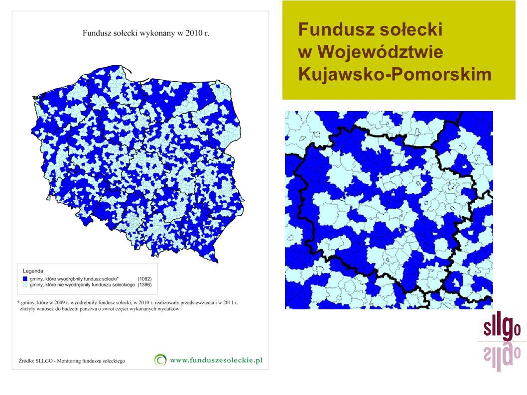 Fundusz sołecki – dane liczbowe Źródło: Kujawsko-Pomorski Urząd Wojewódzki, 2011 r.