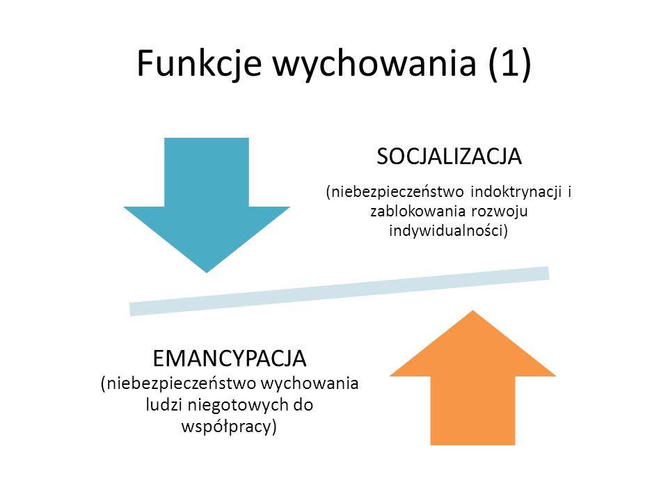 Funkcje wychowania (1) SOCJALIZACJA (niebezpieczeństwo indoktrynacji i zablokowania rozwoju indywidualności) EMANCYPACJA (niebezpieczeństwo wychowania