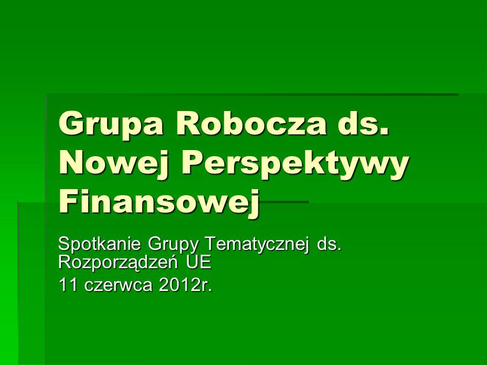 Grupa Robocza ds. Nowej Perspektywy Finansowej Spotkanie Grupy Tematycznej ds. Rozporządzeń UE 11 czerwca 2012r.