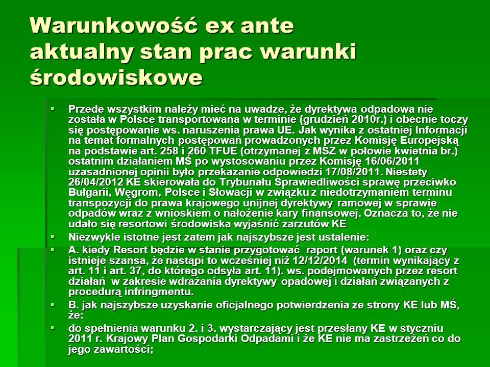 Warunkowość ex ante aktualny stan prac warunki środowiskowe Przede wszystkim należy mieć na uwadze, że dyrektywa odpadowa nie została w Polsce transpo