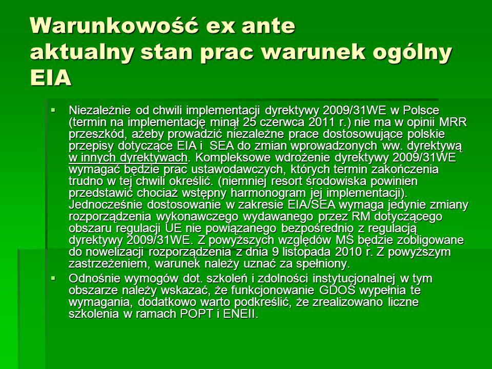 Warunkowość ex ante aktualny stan prac warunek ogólny EIA Niezależnie od chwili implementacji dyrektywy 2009/31WE w Polsce (termin na implementację mi
