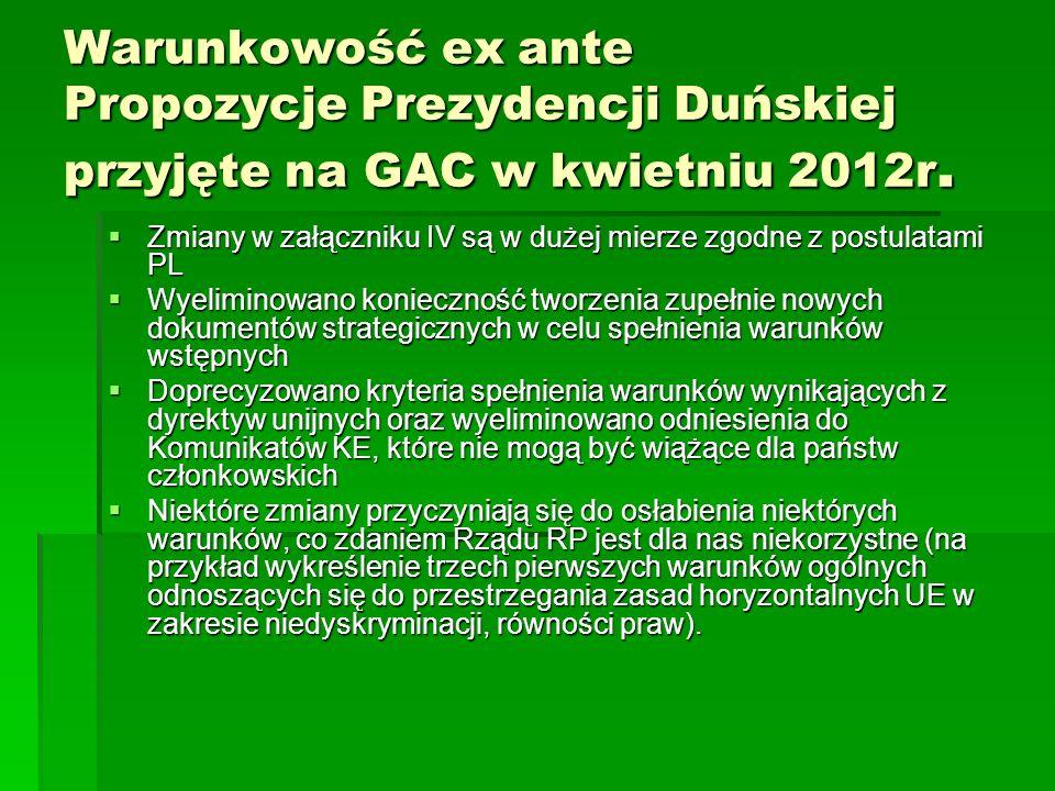 Warunkowość ex ante Propozycje Prezydencji Duńskiej przyjęte na GAC w kwietniu 2012r. Zmiany w załączniku IV są w dużej mierze zgodne z postulatami PL