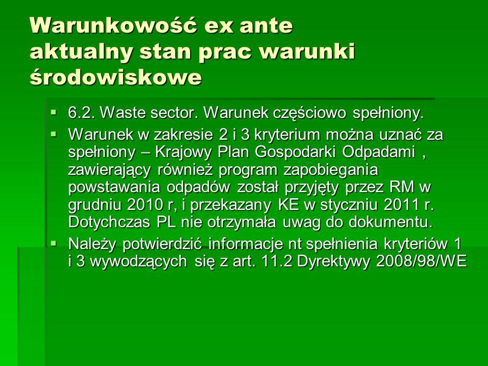 Warunkowość ex ante aktualny stan prac warunki środowiskowe 6.2. Waste sector. Warunek częściowo spełniony. 6.2. Waste sector. Warunek częściowo spełn
