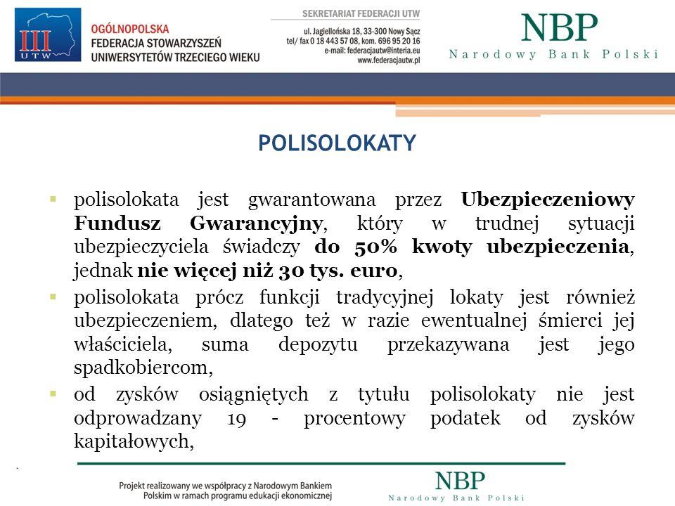 POLISOLOKATY polisolokata jest gwarantowana przez Ubezpieczeniowy Fundusz Gwarancyjny, który w trudnej sytuacji ubezpieczyciela świadczy do 50% kwoty