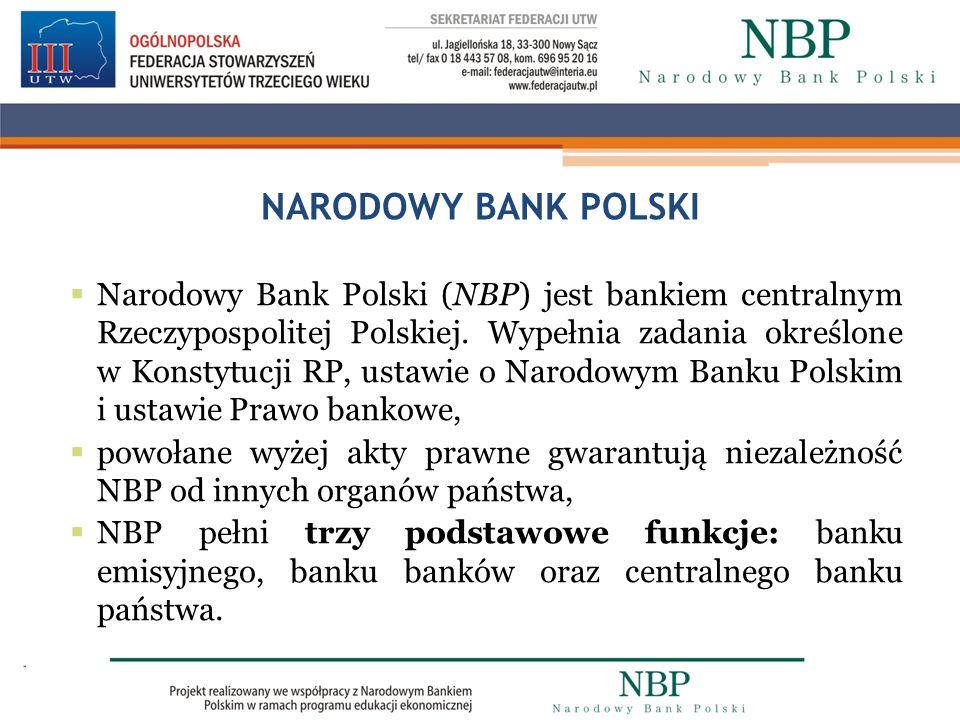 NARODOWY BANK POLSKI Narodowy Bank Polski (NBP) jest bankiem centralnym Rzeczypospolitej Polskiej. Wypełnia zadania określone w Konstytucji RP, ustawi