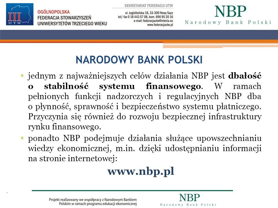 NARODOWY BANK POLSKI jednym z najważniejszych celów działania NBP jest dbałość o stabilność systemu finansowego. W ramach pełnionych funkcji nadzorczy