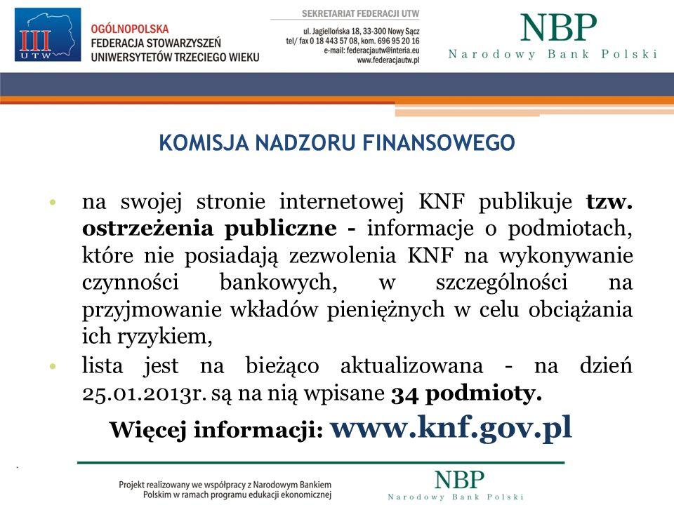 KOMISJA NADZORU FINANSOWEGO na swojej stronie internetowej KNF publikuje tzw. ostrzeżenia publiczne - informacje o podmiotach, które nie posiadają zez