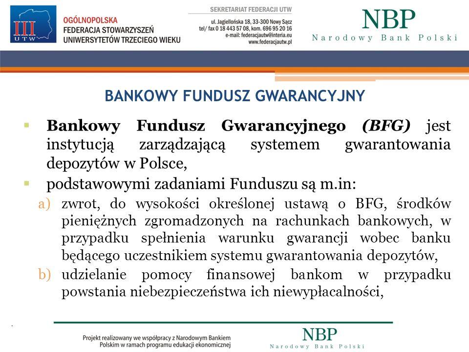 BANKOWY FUNDUSZ GWARANCYJNY Bankowy Fundusz Gwarancyjnego (BFG) jest instytucją zarządzającą systemem gwarantowania depozytów w Polsce, podstawowymi z