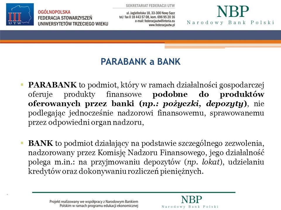 PARABANK a BANK PARABANK to podmiot, który w ramach działalności gospodarczej oferuje produkty finansowe podobne do produktów oferowanych przez banki