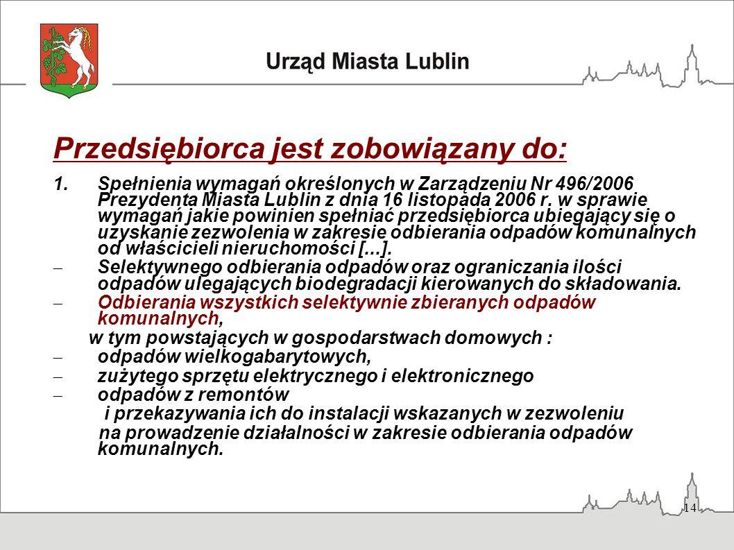 14 Przedsiębiorca jest zobowiązany do: 1.Spełnienia wymagań określonych w Zarządzeniu Nr 496/2006 Prezydenta Miasta Lublin z dnia 16 listopada 2006 r.
