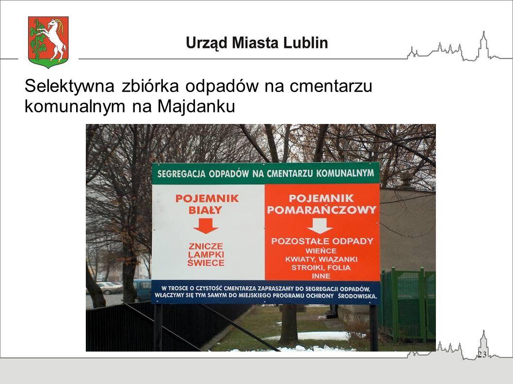 23 Selektywna zbiórka odpadów na cmentarzu komunalnym na Majdanku