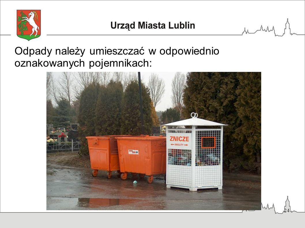 24 Odpady należy umieszczać w odpowiednio oznakowanych pojemnikach: