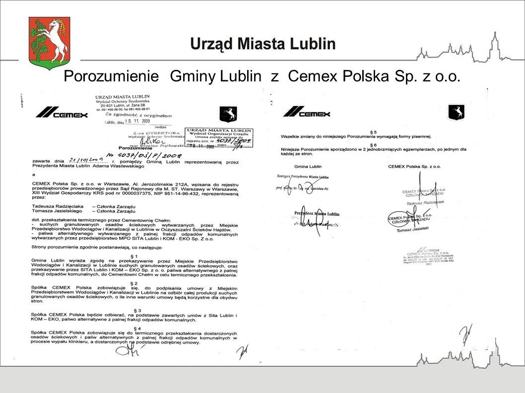 Porozumienie Gminy Lublin z Cemex Polska Sp. z o.o.