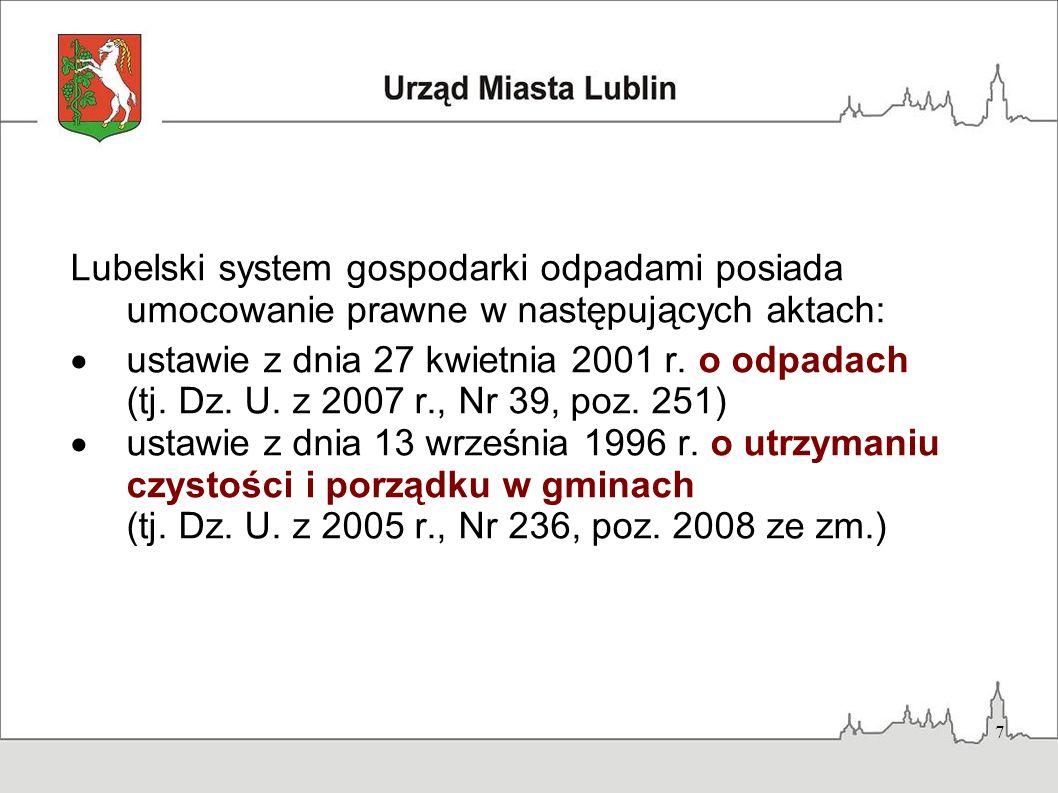 7 Lubelski system gospodarki odpadami posiada umocowanie prawne w następujących aktach: ustawie z dnia 27 kwietnia 2001 r. o odpadach (tj. Dz. U. z 20