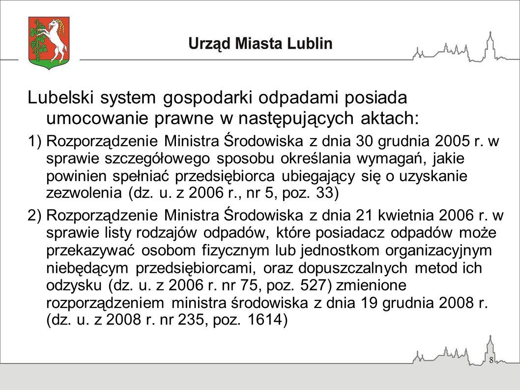 8 Lubelski system gospodarki odpadami posiada umocowanie prawne w następujących aktach: 1)Rozporządzenie Ministra Środowiska z dnia 30 grudnia 2005 r.