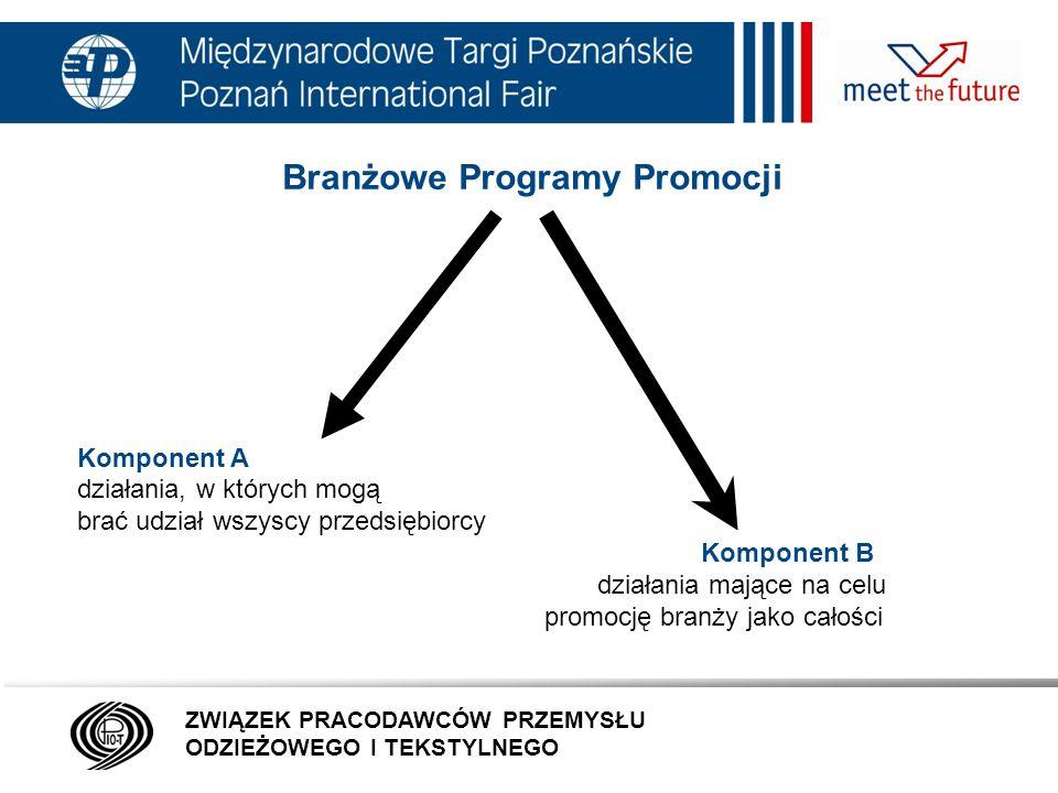 7.01.12 Branżowe Programy Promocji Komponent A działania, w których mogą brać udział wszyscy przedsiębiorcy Komponent B działania mające na celu promocję branży jako całości ZWIĄZEK PRACODAWCÓW PRZEMYSŁU ODZIEŻOWEGO I TEKSTYLNEGO