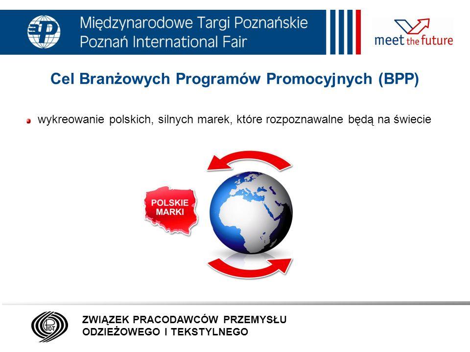 7.01.12 Cel Branżowych Programów Promocyjnych (BPP) zaistnienie na rynkach zagranicznych polskich specjalności eksportowych, tworzących nową markę Polska, promocja branży odzieżowej, dodatków i galanterii odzieżowej za granicą ZWIĄZEK PRACODAWCÓW PRZEMYSŁU ODZIEŻOWEGO I TEKSTYLNEGO