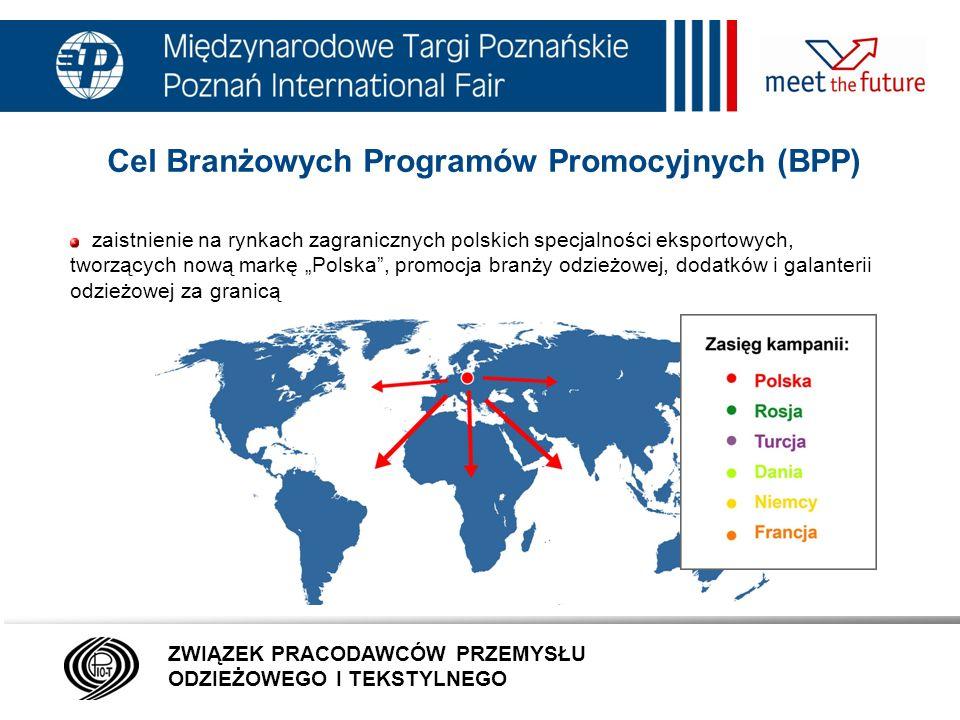 7.01.12 Cel Branżowych Programów Promocyjnych (BPP) dostarczenie odbiorcom zagranicznym niezbędnych informacji o produktach i usługach branży dotarcie z informacją o branży do jak najszerszej zagranicznej grupy docelowej możliwość nawiązania kontaktów gospodarczych ZWIĄZEK PRACODAWCÓW PRZEMYSŁU ODZIEŻOWEGO I TEKSTYLNEGO