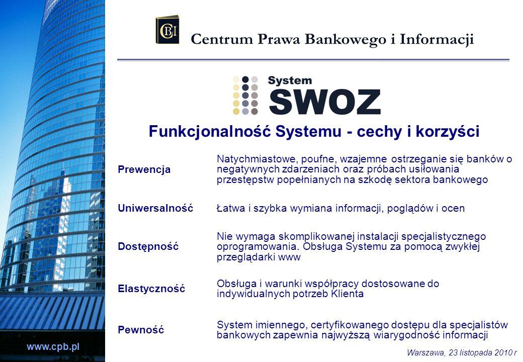 www.cpb.pl Funkcjonalność Systemu - cechy i korzyści Prewencja Natychmiastowe, poufne, wzajemne ostrzeganie się banków o negatywnych zdarzeniach oraz