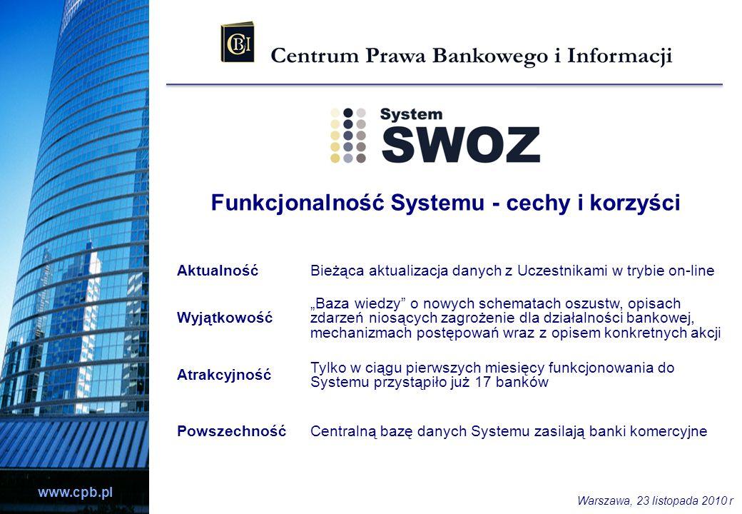 www.cpb.pl AktualnośćBieżąca aktualizacja danych z Uczestnikami w trybie on-line Wyjątkowość Baza wiedzy o nowych schematach oszustw, opisach zdarzeń