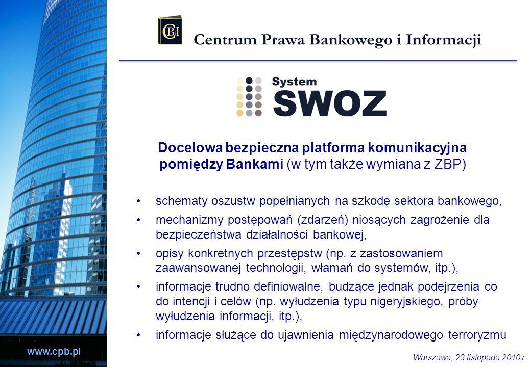 www.cpb.pl schematy oszustw popełnianych na szkodę sektora bankowego, mechanizmy postępowań (zdarzeń) niosących zagrożenie dla bezpieczeństwa działaln