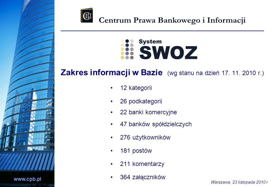www.cpb.pl Zakres informacji w Bazie (wg stanu na dzień 17. 11. 2010 r.) 12 kategorii 26 podkategorii 22 banki komercyjne 47 banków spółdzielczych 276