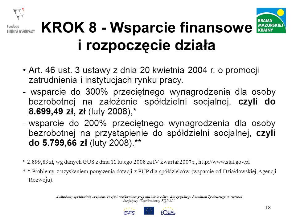 Zakładamy spółdzielnię socjalnąProjekt realizowany przy udziale środków Europejskiego Funduszu Społecznego w ramach Inicjatywy Wspólnotowej EQUAL 18 KROK 8 - Wsparcie finansowe i rozpoczęcie działa Art.