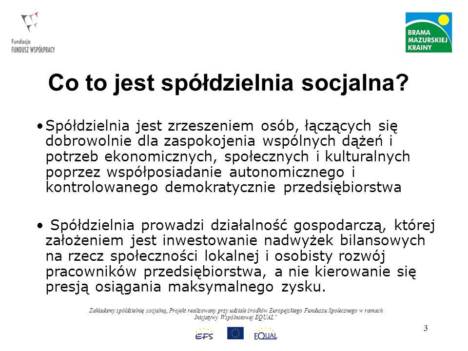 Zakładamy spółdzielnię socjalnąProjekt realizowany przy udziale środków Europejskiego Funduszu Społecznego w ramach Inicjatywy Wspólnotowej EQUAL 24 Zakładamy wspólnie spółdzielnię socjalną, (praca w podziale na dwie grupy): a) plusy spółdzielni socjalnych, b) minusy spółdzielni socjalnych.