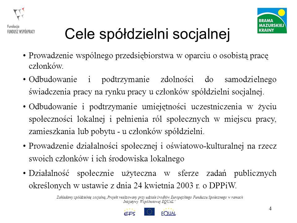 Zakładamy spółdzielnię socjalnąProjekt realizowany przy udziale środków Europejskiego Funduszu Społecznego w ramach Inicjatywy Wspólnotowej EQUAL 4 Cele spółdzielni socjalnej Prowadzenie wspólnego przedsiębiorstwa w oparciu o osobistą pracę członków.