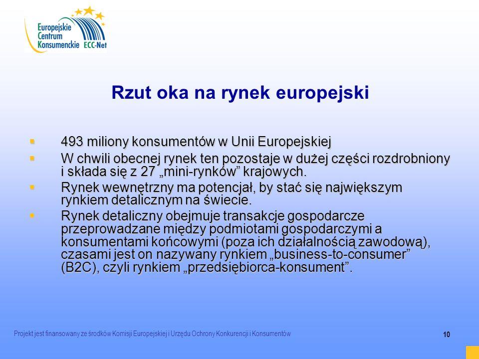 Projekt jest finansowany ze środków Komisji Europejskiej i Urzędu Ochrony Konkurencji i Konsumentów 10 Rzut oka na rynek europejski 493 miliony konsum