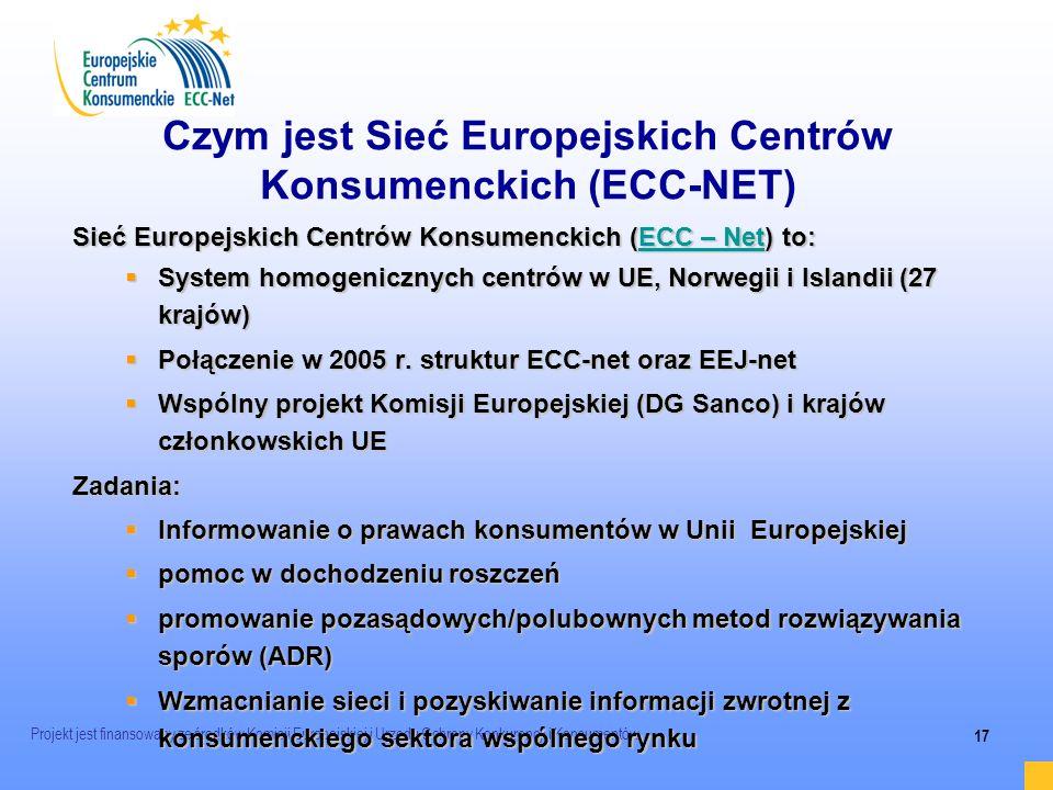 Projekt jest finansowany ze środków Komisji Europejskiej i Urzędu Ochrony Konkurencji i Konsumentów 17 Czym jest Sieć Europejskich Centrów Konsumencki