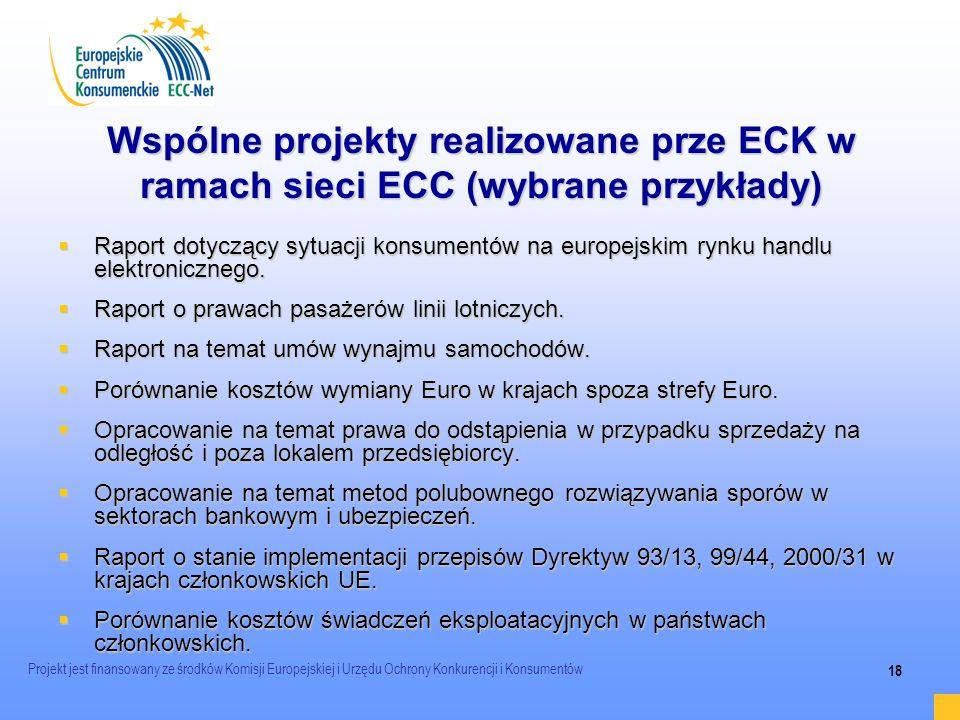 Projekt jest finansowany ze środków Komisji Europejskiej i Urzędu Ochrony Konkurencji i Konsumentów 18 Wspólne projekty realizowane prze ECK w ramach