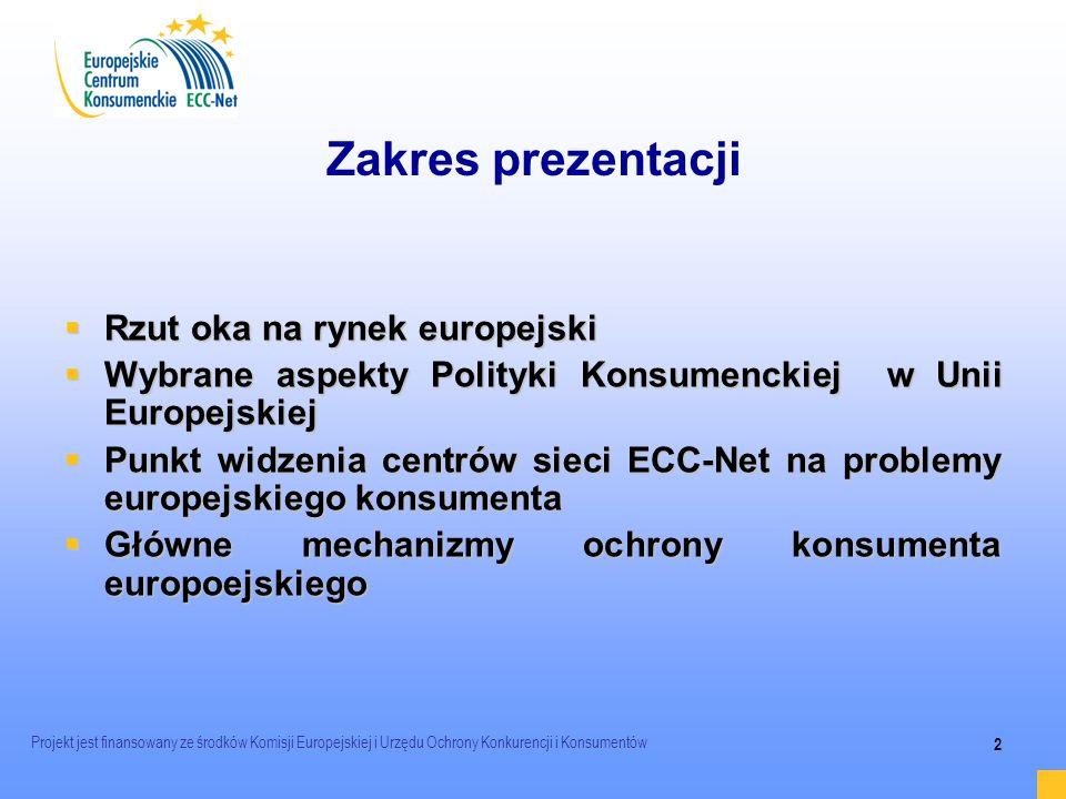 Projekt jest finansowany ze środków Komisji Europejskiej i Urzędu Ochrony Konkurencji i Konsumentów 2 Zakres prezentacji Rzut oka na rynek europejski