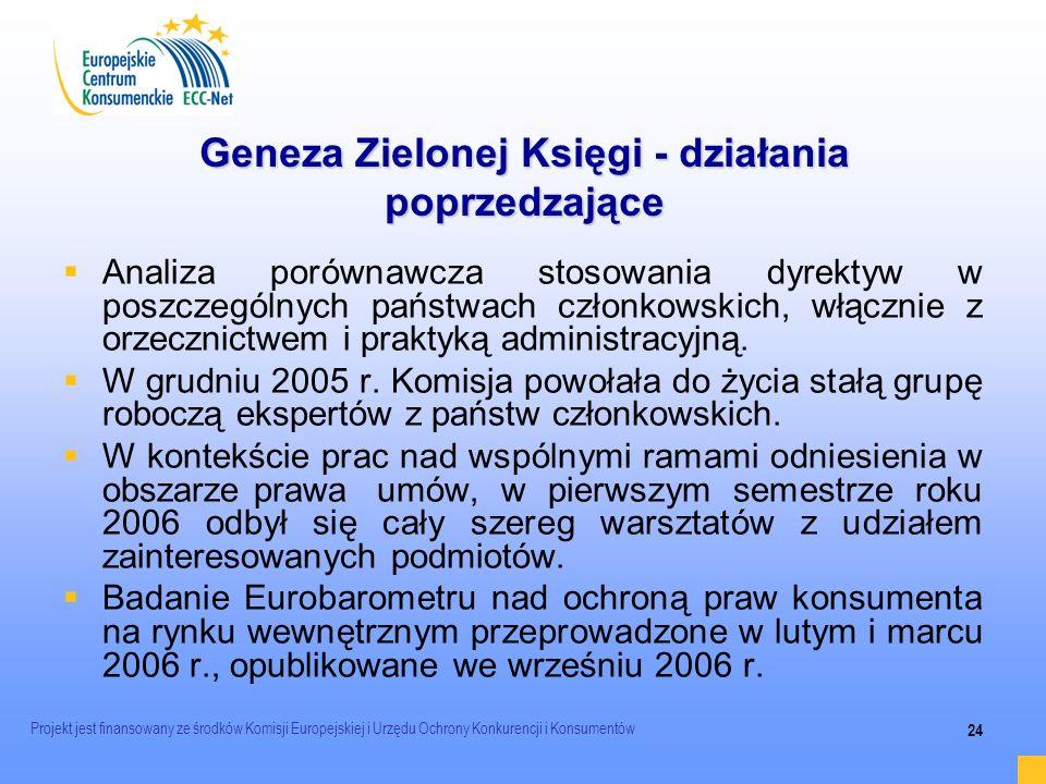 Projekt jest finansowany ze środków Komisji Europejskiej i Urzędu Ochrony Konkurencji i Konsumentów 24 Geneza Zielonej Księgi - działania poprzedzając