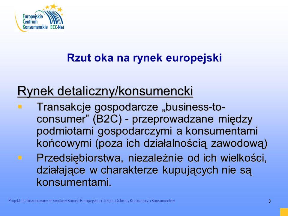 Projekt jest finansowany ze środków Komisji Europejskiej i Urzędu Ochrony Konkurencji i Konsumentów 3 Rzut oka na rynek europejski Rynek detaliczny/ko