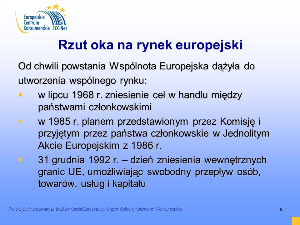 Projekt jest finansowany ze środków Komisji Europejskiej i Urzędu Ochrony Konkurencji i Konsumentów 5 Rzut oka na rynek europejski Od chwili powstania