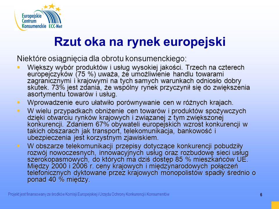 Projekt jest finansowany ze środków Komisji Europejskiej i Urzędu Ochrony Konkurencji i Konsumentów 6 Rzut oka na rynek europejski : Niektóre osiągnię