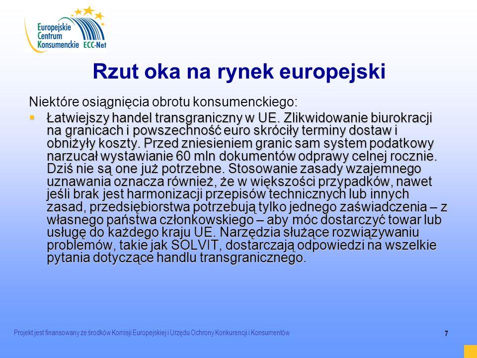 Projekt jest finansowany ze środków Komisji Europejskiej i Urzędu Ochrony Konkurencji i Konsumentów 7 Rzut oka na rynek europejski Niektóre osiągnięci