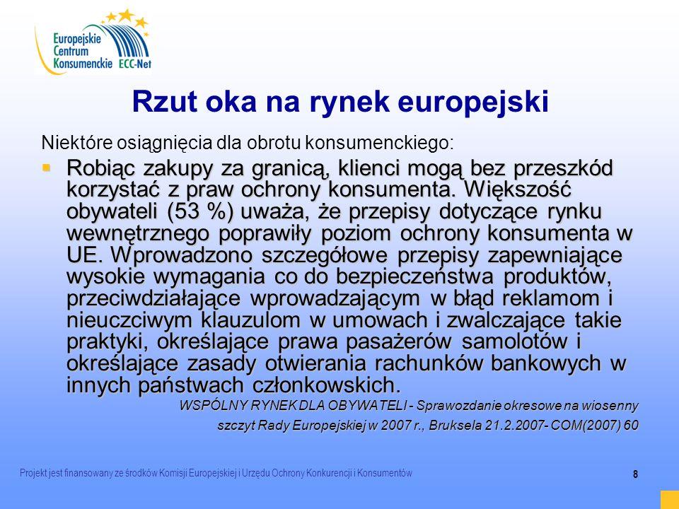Projekt jest finansowany ze środków Komisji Europejskiej i Urzędu Ochrony Konkurencji i Konsumentów 8 Rzut oka na rynek europejski Niektóre osiągnięci