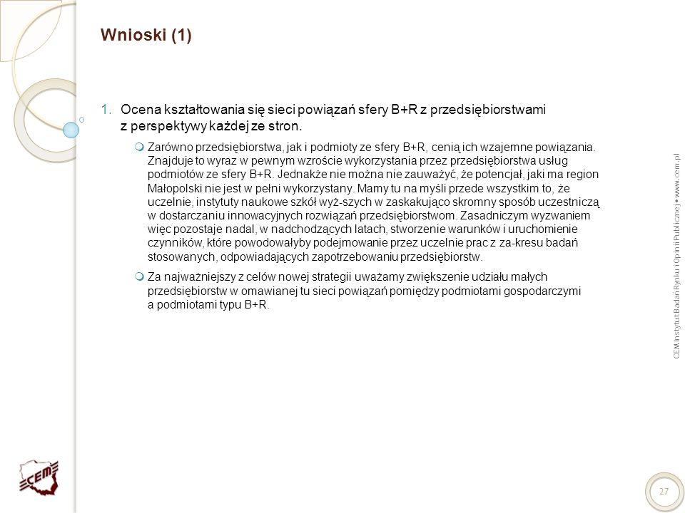 CEM Instytut Badań Rynku i Opinii Publicznej www.cem.pl 27 Wnioski (1) 1.Ocena kształtowania się sieci powiązań sfery B+R z przedsiębiorstwami z persp