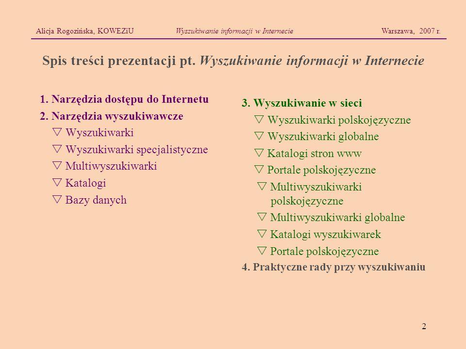 2 Alicja Rogozińska, KOWEZiUWyszukiwanie informacji w Internecie Warszawa, 2007 r. Spis treści prezentacji pt. Wyszukiwanie informacji w Internecie 1.
