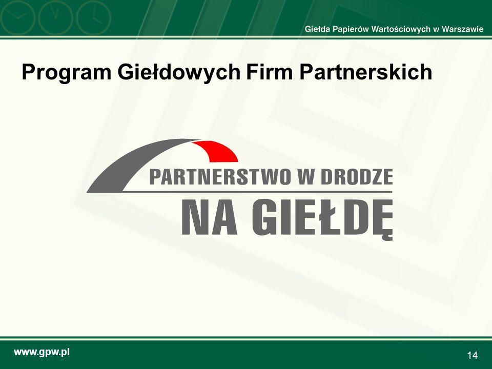 www.gpw.pl 14 Program Giełdowych Firm Partnerskich