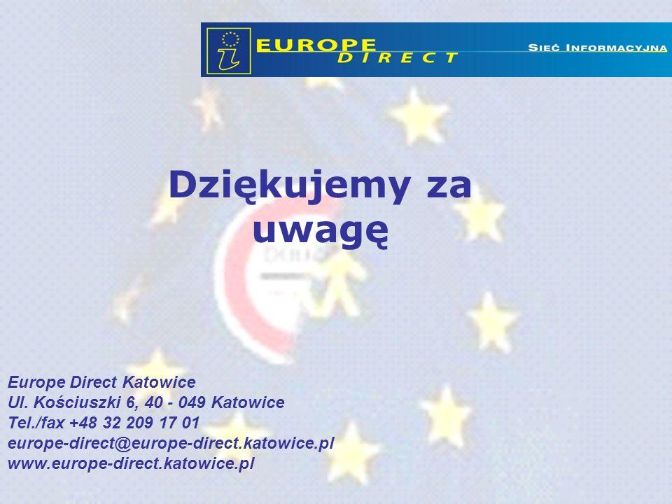Dziękujemy za uwagę Europe Direct Katowice Ul. Kościuszki 6, 40 - 049 Katowice Tel./fax +48 32 209 17 01 europe-direct@europe-direct.katowice.pl www.e