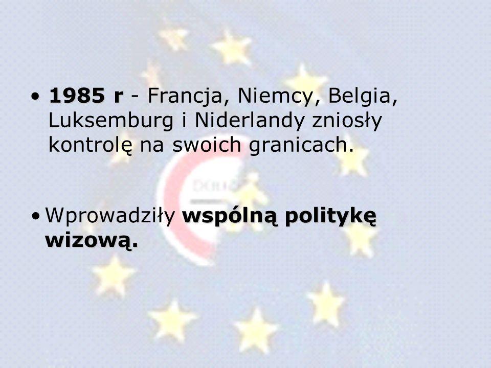 Układ z Schengen - zawarty w Schengen w Luksemburgu, 14 czerwca 1985 roku: znosi kontrolę osób przekraczających granice między państwami Unii wzmacnia współpracę w zakresie bezpieczeństwa i polityki azylowej współpraca przygraniczna policji.