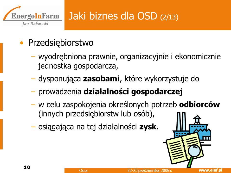 www.einf.pl 22-23 października 2008 r. Ossa 10 Jaki biznes dla OSD (2/13) Przedsiębiorstwo –wyodrębniona prawnie, organizacyjnie i ekonomicznie jednos