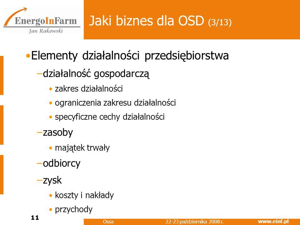 www.einf.pl 22-23 października 2008 r. Ossa 11 Jaki biznes dla OSD (3/13) Elementy działalności przedsiębiorstwa –działalność gospodarczą zakres dział