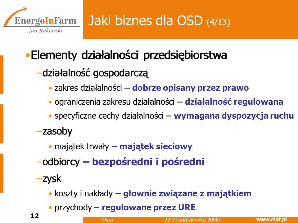 www.einf.pl 22-23 października 2008 r. Ossa 12 Jaki biznes dla OSD (4/13) Elementy działalności przedsiębiorstwa –działalność gospodarczą zakres dział