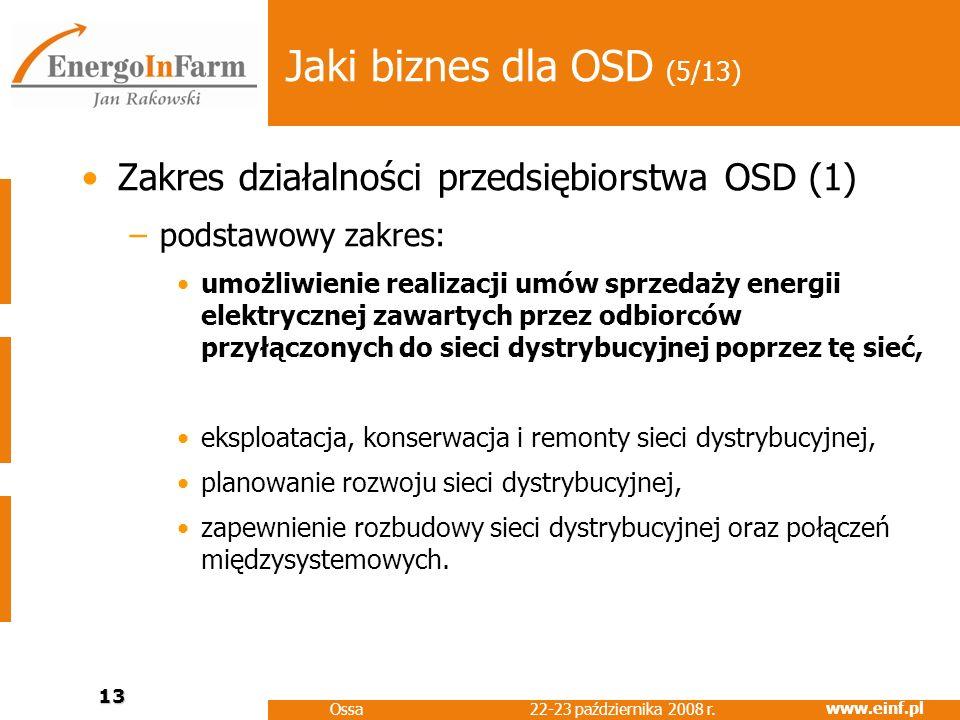 www.einf.pl 22-23 października 2008 r. Ossa 13 Jaki biznes dla OSD (5/13) Zakres działalności przedsiębiorstwa OSD (1) –podstawowy zakres: umożliwieni