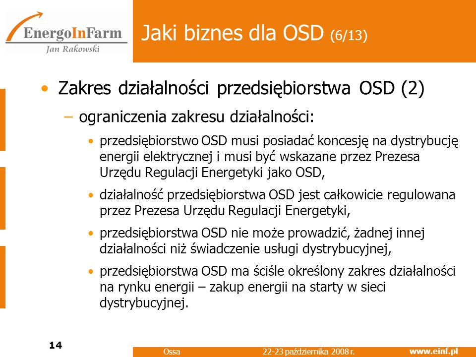 www.einf.pl 22-23 października 2008 r. Ossa 14 Jaki biznes dla OSD (6/13) Zakres działalności przedsiębiorstwa OSD (2) –ograniczenia zakresu działalno